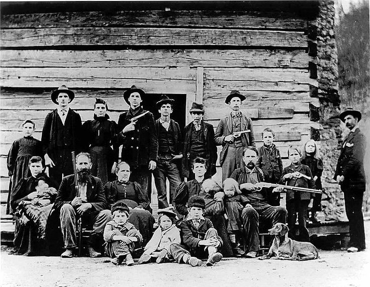 "The Hatfield clan of Hatfield & McCoy legend. 'The picture was taken in 1897 and appeared in the Iowa State Press dated February 11, 1899. The headline read ""In a Careless Moment Devil Anse Allowed It to be Taken. -- The Hatfields Wrecked the Photographer's Establishment.'"