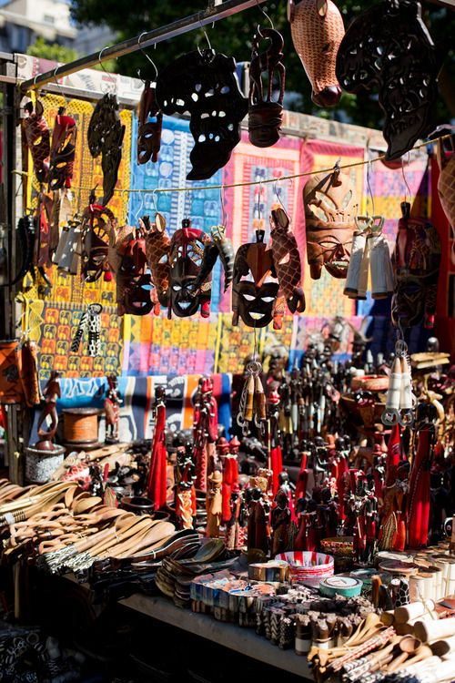 Green Market Square, Cape Town, South Africa A stall selling African masks, beadwork, printed fabric