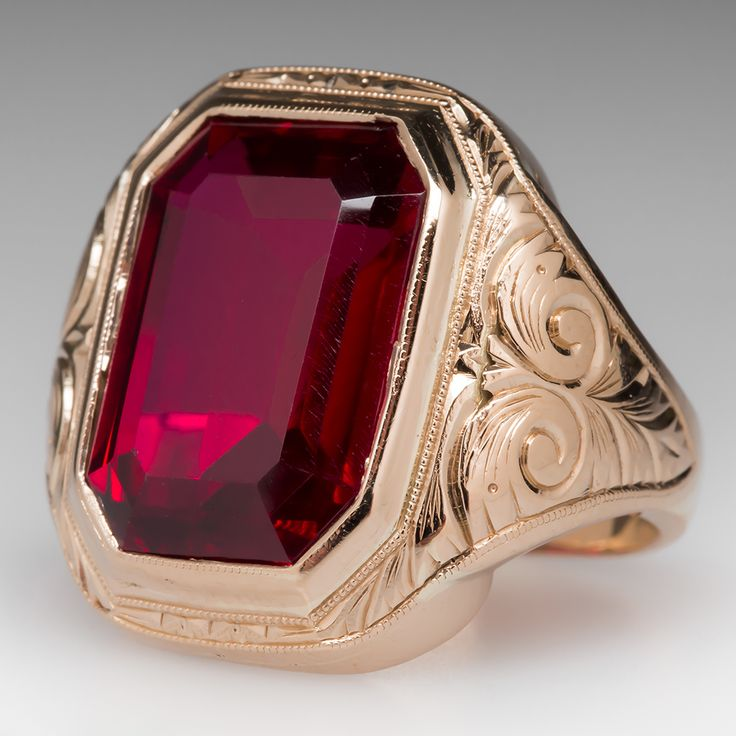 Vintage Created Ruby Bold Mens Ring Mens Estate Jewelry