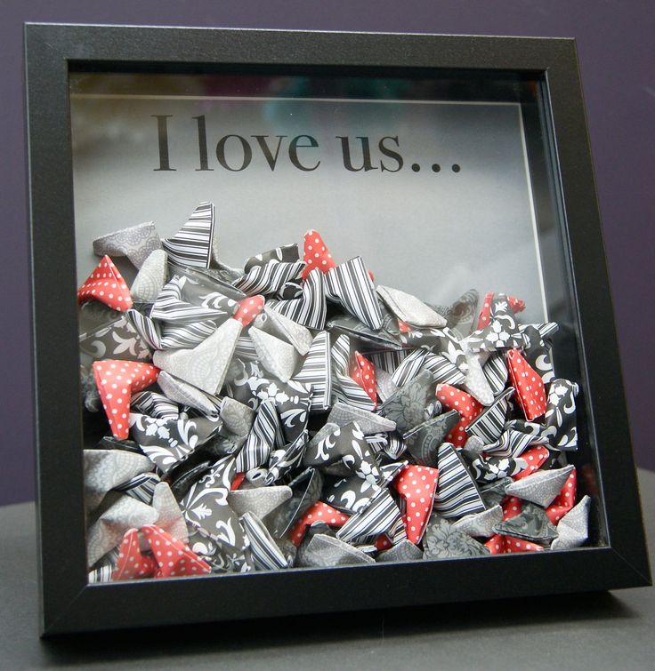 Personalized Wedding Paper Origami Hearts Shadowbox by paintandpapercraft on Etsy