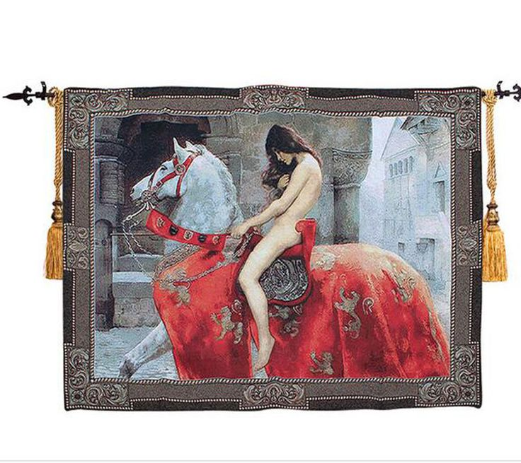 Tapestry Gobelin Tapestries Carpete Beautiful Lady Godiva Fine Tapestry Jacquard Woven Made Wall Hanging 140cm X 100cm