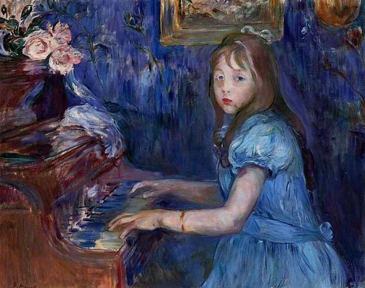 Lucie Leon at the Piano, 1892 by Berthe Morisot. Impressionism. genre painting. Private Collection