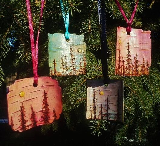 Beautiful Pyrography at this Etsy store!  Boreal Moonscape Ornaments- Birch Bark