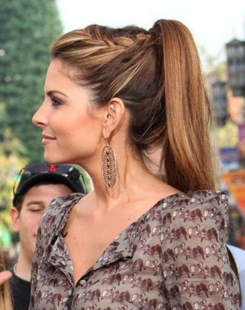 Maria Menounos Hairstyles: High Ponytail with Braid - Top 40 Maria Menounos Gorgeous Hair Styles #hairstyles
