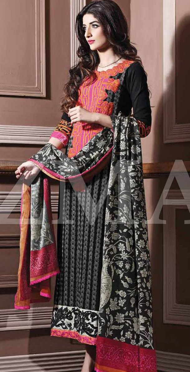 Black/Shocking Pink Linen Salwar Kameez Dress $99.99 DESIGNER WINTER DRESSES Pakistani Indian ...
