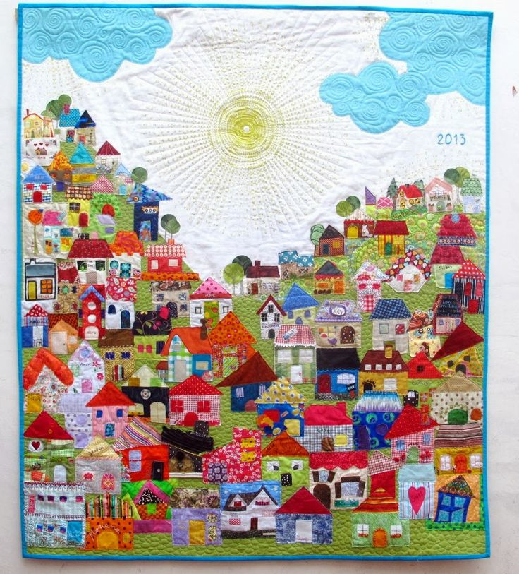 "Cecilia Koppmann Recuerdo del 2013. Casitas aportadas por mis alumnas. Gracias, Chicas!!! 1.30 x 1.50m  Each of the houses was made by a student for me to make the quilt. Thank you, girls!!! 51"" x 60"""