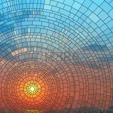 Illustration der Sonnenuntergang in blauer Himmel im Meer Glasfenster  Lizenzfreie Bilder