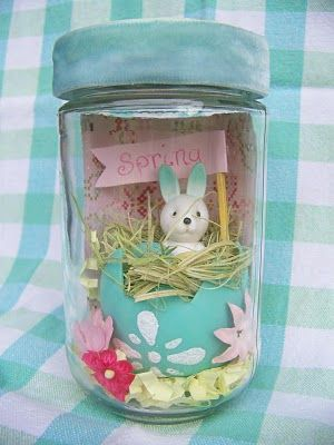 Spring in a jar: fun Easter craft  March is Spring/Easter Crafts  www.tscpl.org