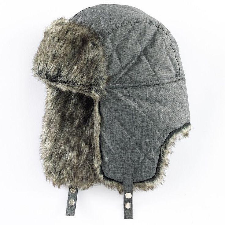 Mens Trapper Hat - Tech Fabric (Grey) Apt. 9 Winter Warm NWT One Size fits Most #Apt9 #AviatorTrapper