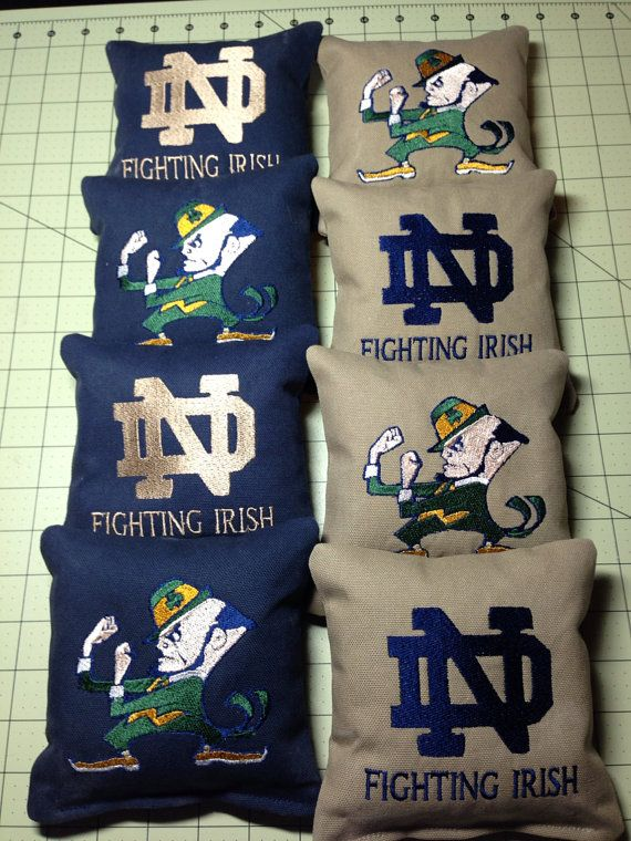 CORNHOLE BAGS Custom Embroidered Notre Dame by