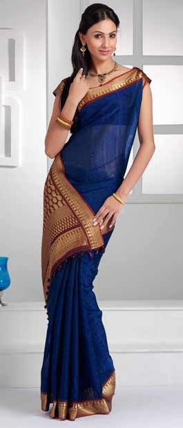 Blue, Red & Gold #Saree with Blouse @ $100.56 |  http://www.utsavfashion.com/store/sarees-large.aspx?icode=skl1190