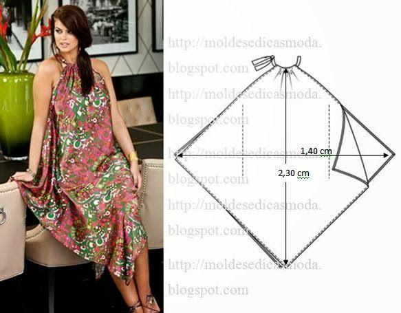 Molde de vestido fácil de fazer com medidas. Este modelo de vestido não necessita de molde em papel, porque é muito fácil e intuitivo.