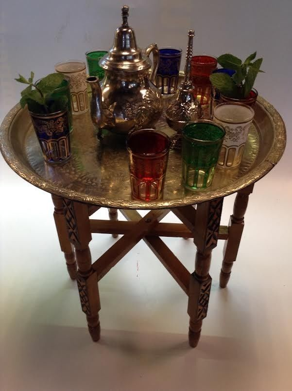 Vintage Traditional Moroccan Tea Folding Table & Silver Teapot 6 Glasses set #Mediterranean #Fes