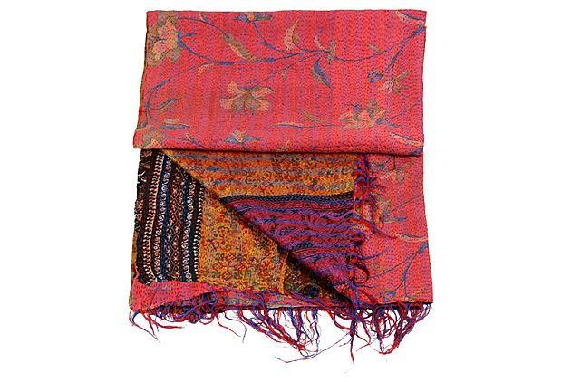 "Reversible Kantha Silk Throw DE-COR 87""L x 34""W ($289.00)  $189.00 OneKingsLane.com"