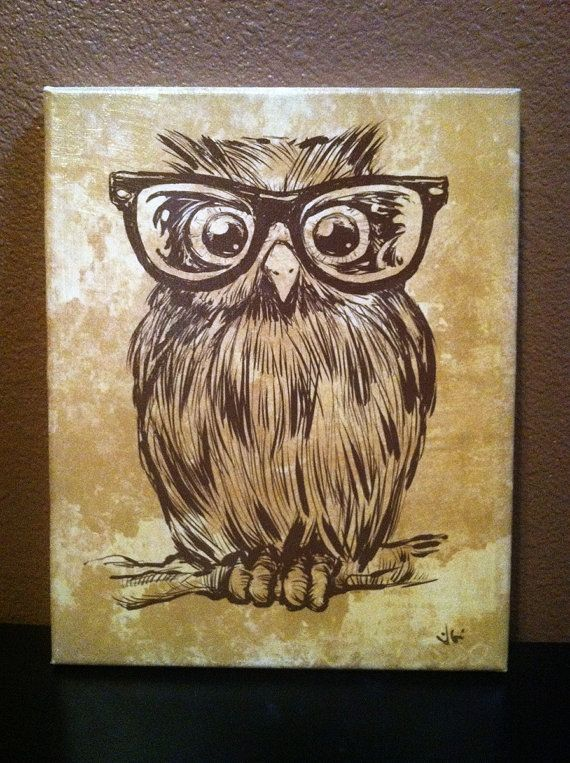 Spectacle Owl 10x10 Canvas Art Devan this owl is adorable! It reminded me of your owls, but this one may be more nerdy