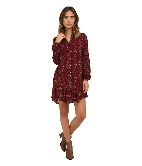 Free People Button Down Shirt Dress Cranberry Combo - 6pm.com