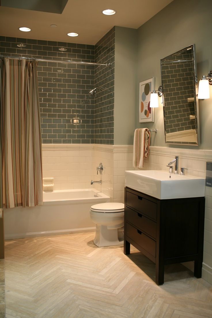 this idea but with the grey subway tile and different color bamboo floor