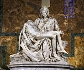 "... one of Michelangelo's Pietas, which is powerful.  It depicts a youthful Mother Mary - majestic and regal - as she cradles her lifeless son.  She is sorrowful and in disbelief and with her hand's gesture, she says, ""Look at my son.  They have killed him."" Her gesture also says, ""Here he is.  He has done it, that which he was meant to do."" And, with her demeanor, she glorifies him.  I never studied art formally, so I may sound naive, but Michelangelo's work spoke to me (Young Ezekiel, 98)."