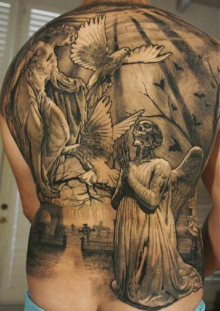 25 best angel wings chest tattoos men images on pinterest for Badass angel tattoos