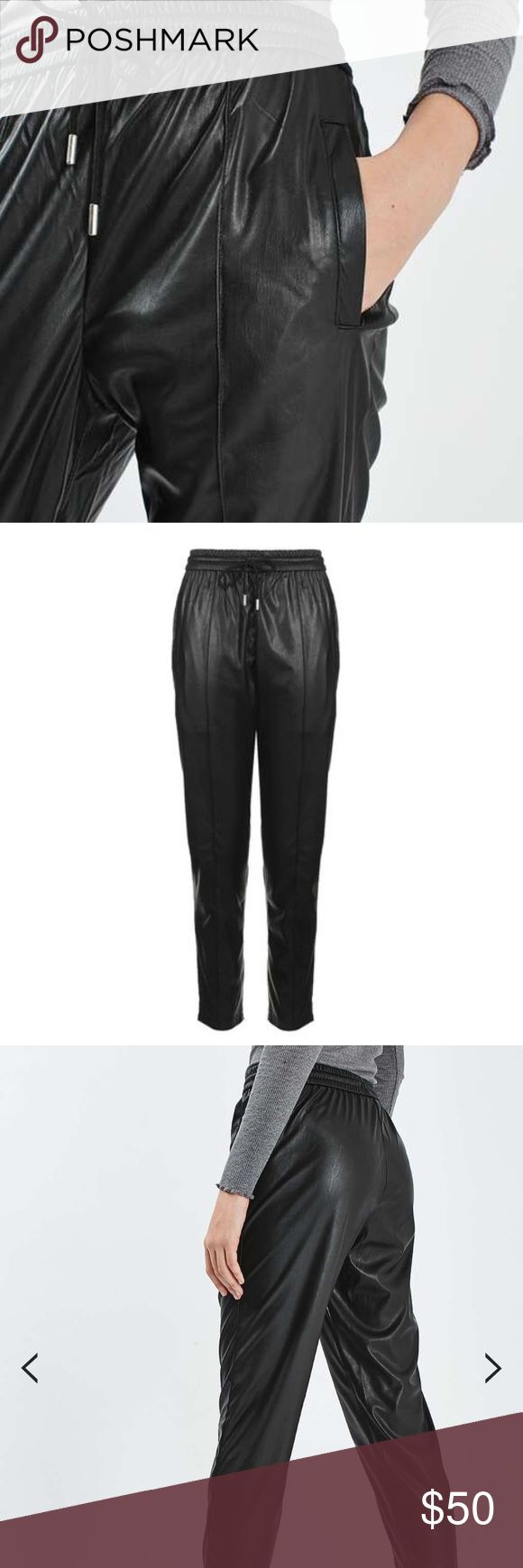 Topshop faux leather jogger pants New with tag. Size 6 Topshop Pants Track Pants & Joggers