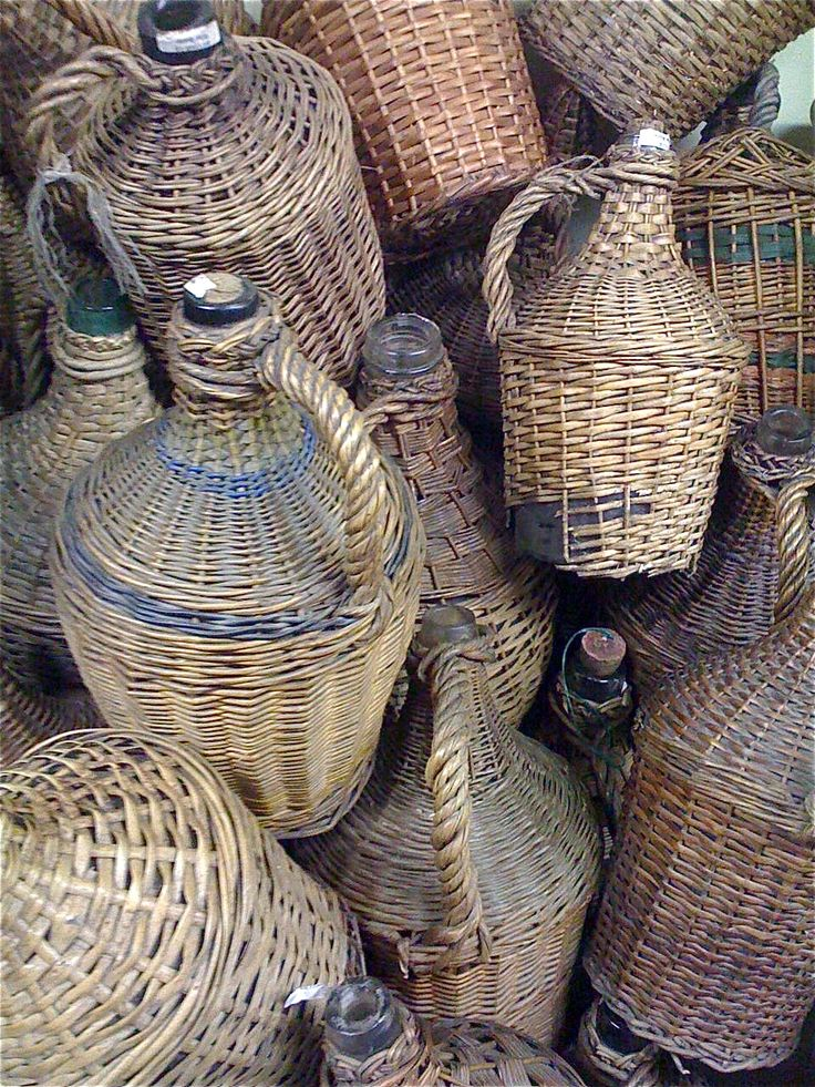 Vintage wicker covered wine bottles (upcycle for use as home decor)