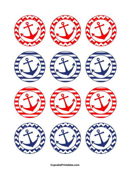 Anchor cupcake toppers. Use the circles for cupcakes, party favor tags, and more. Free printable PDF download at http://cupcakeprintables.com/toppers/anchor-cupcake-toppers/
