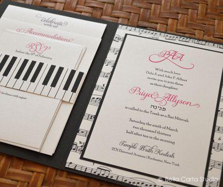 Piano and music themed Bat Mitzvah invitation by Bella Carta Studio