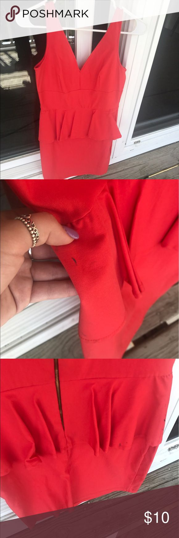 Red peplum dress Red, peplum dress. Stains are pictured above. Size medium. Love Culture Dresses Mini
