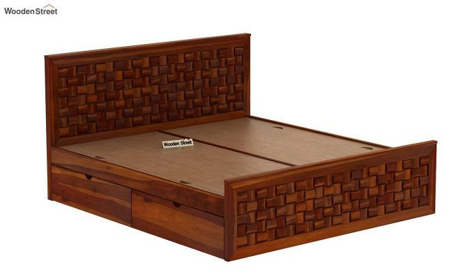 Buy Howler Bed With Side Storage King Size Honey Finish Online In India In 2020 Wooden King Size Bed Double Bed Designs Unique Wood Furniture