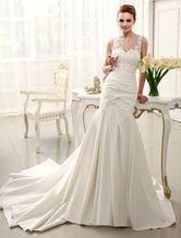 Vestido de noiva marfim frisado sereia em cetim com cauda e apliques