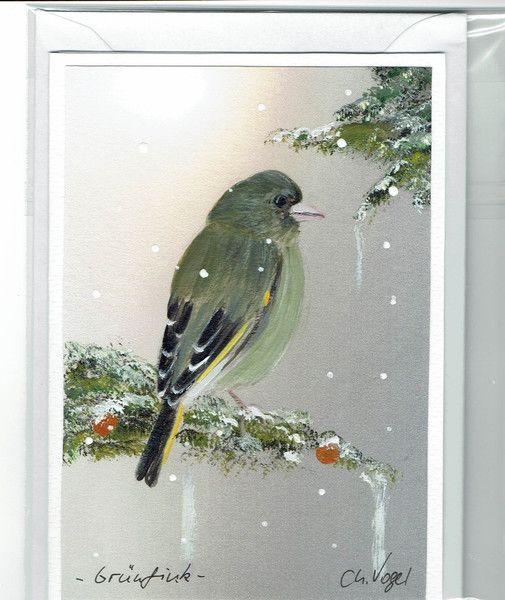 Grüße - Grußkarte -  Grünfink, handgemalt - ein Designerstück von Vogelmalerin bei DaWanda