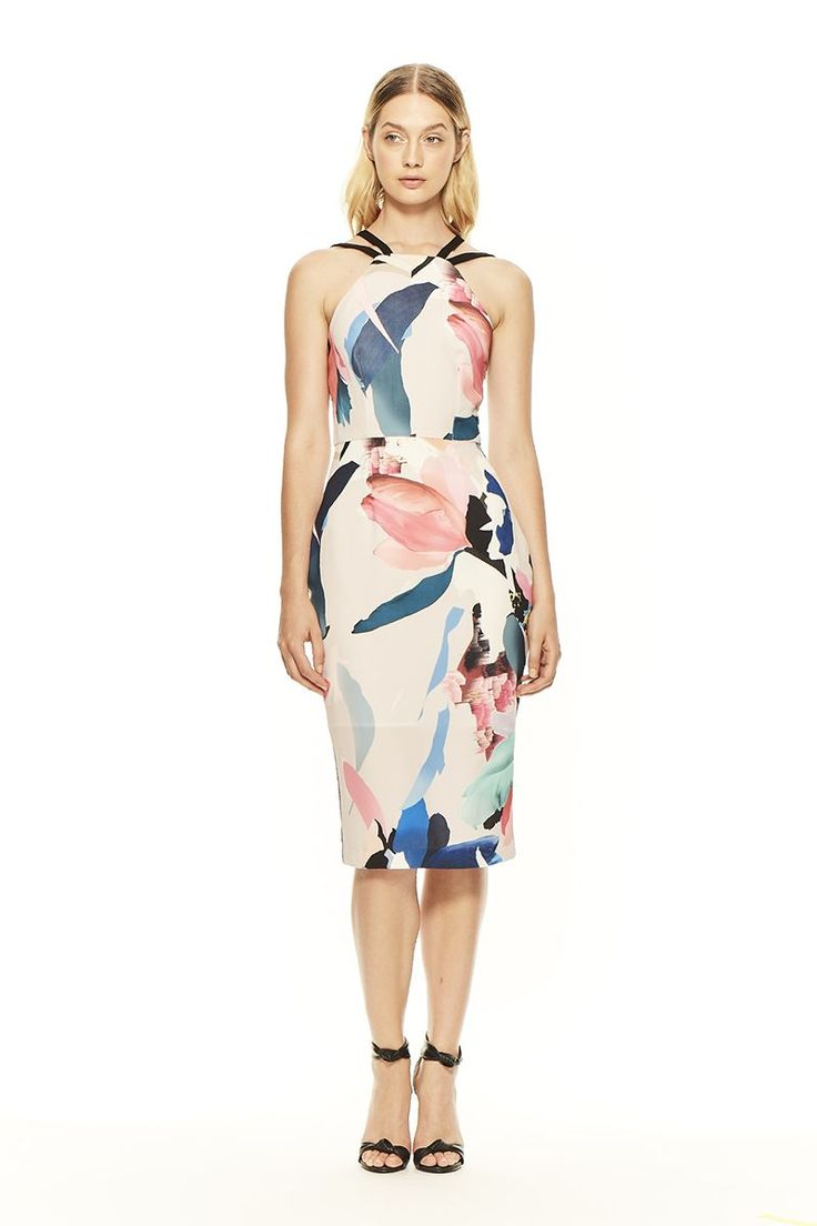 Abstract burst floral print with black contrast back detail