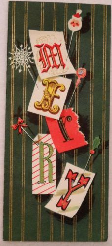 #1849 50s Mid Century Santa Stick Pin-Vintage Christmas Card-Greeting