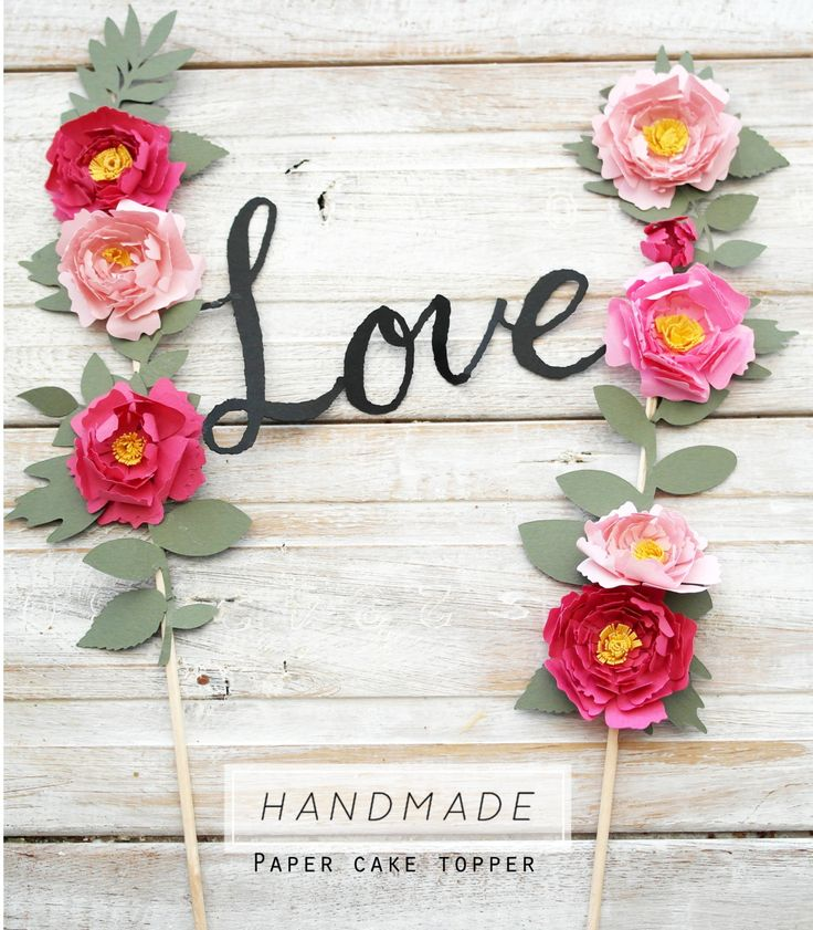 Paper flower weddig cake topper 'love' by twiggstudios on Etsy