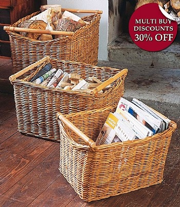 Rattan Baskets w/ Cane Handles - Set of 3 available in store Www.southcoastfurnishings.com