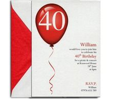 Balloon 40th birthday invite from Heritage Stationary