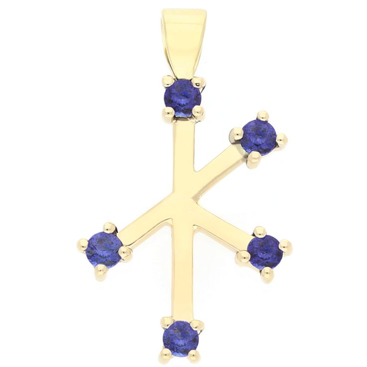 18kt Yellow gold southern cross pendant, with 5 round tanzanites equalling 0.25ct    www.uwekoetter.com