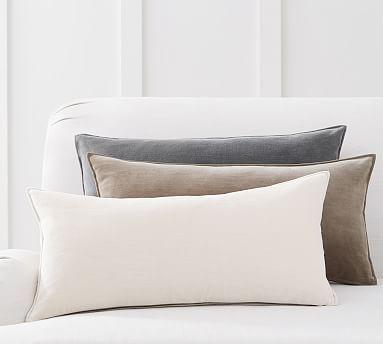 washed velvet zip lumbar pillow cover potterybarn