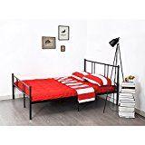 Double Betal Adulte Cadre de lit avec tête de lit-198 cm x 142 cm Eggree (TM) Bedstead base solide pour Couple d'âge - Noir