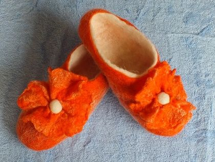 Felted Slippers Ladies Footware House Shoes White Alpaca and Orange Romney Wool