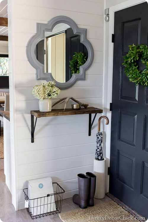 I think this is a good idea to have a small set up with a mirror behind the front door.