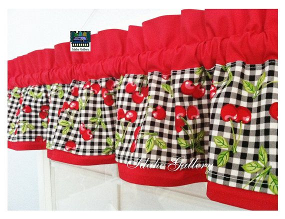 Cherry Checks On Red Little Curtain Valance For Playhouse