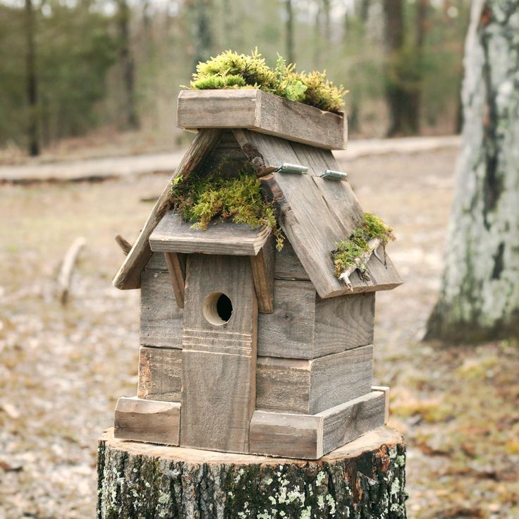 Large Green Roof Birdhouse, for Bluebirds - Smaller Bird, Rustic Reclaimed Barn Wood, Easy Clean, Weatherproof and Raccoon Proof Roof, Drain by HicklinHomestead on Etsy