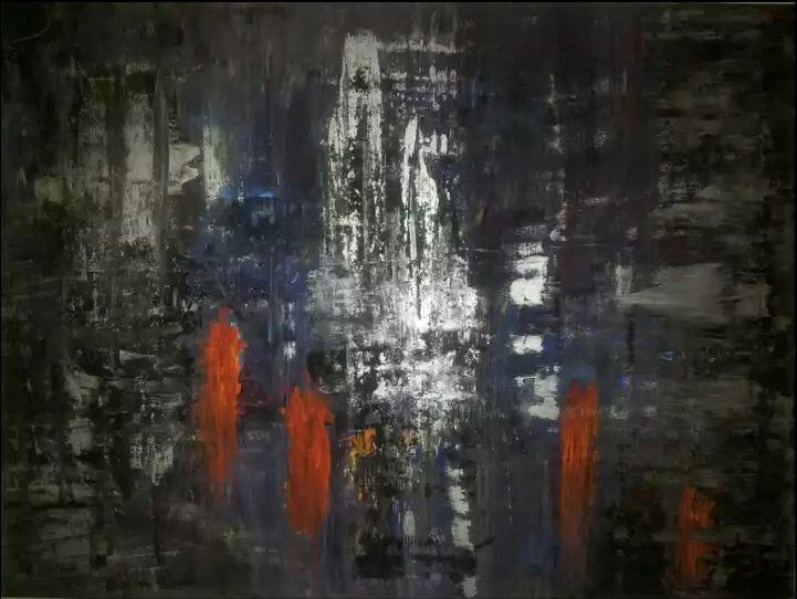 Abstract art by Canadian artist Robert Martin Abstracts. Title Temple 30x40x1.5in. In acrylic on canvas Vancouver Island collection