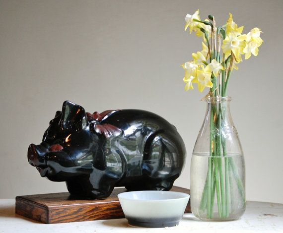 Vintage Black Ceramic Piggy Bank | Farmhouse Chic from The Zoe Bird on @Etsy