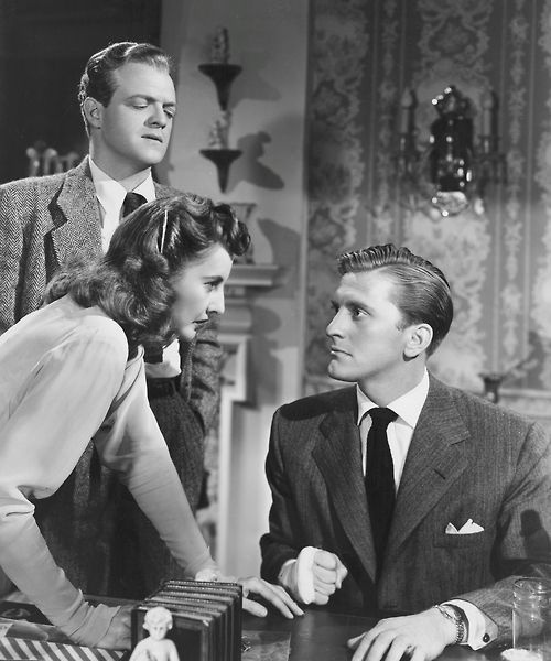 "Van Heflin and Kirk Douglas with Barbara Stanwyck in ""The Strange Love of Martha Ivers""  (1946)"