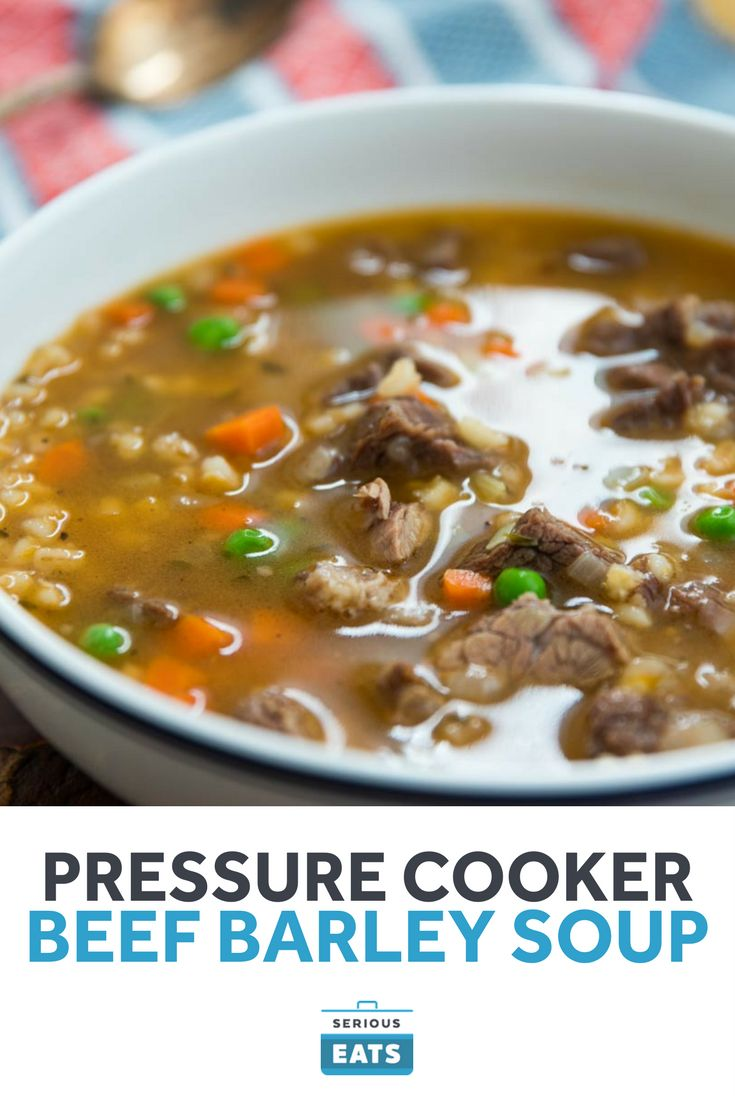 A classic beef barley soup is a wintertime staple, but it takes a while to cook...unless you use a pressure cooker. This recipe takes advantage of the higher temperatures of a pressure cooker to get a deeply flavorful beef barley soup on the table in about an hour from start to finish.