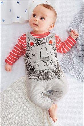 Detské dupačky s overalom s motívom leva (0-18 mesiacov), sivá - Next | Stilago