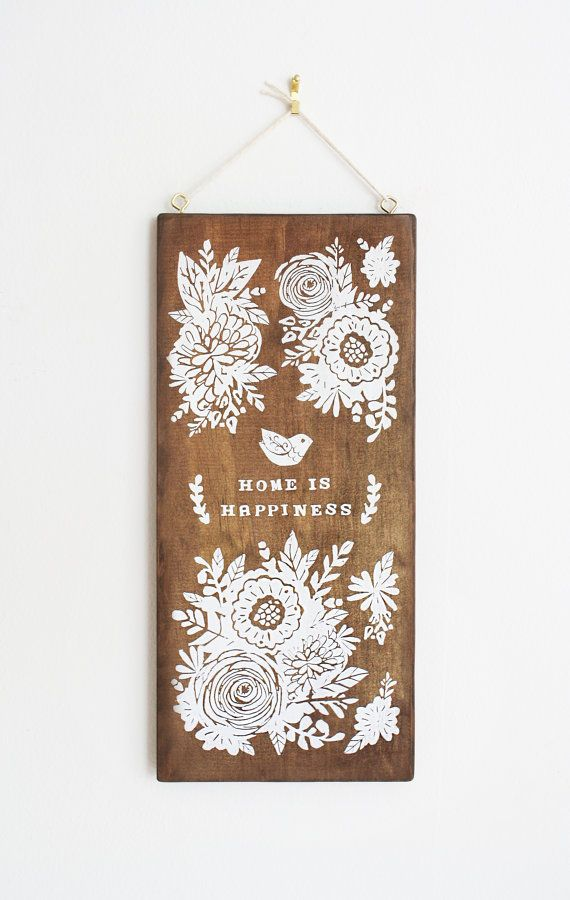Home Is Happiness: Floral Decor Wood Wall Art by satchelandsage