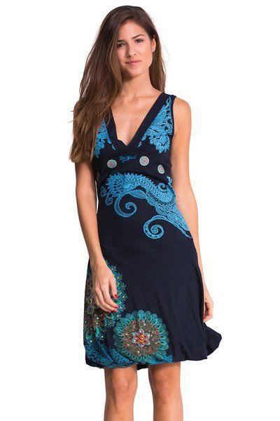 Vestido azul con falda globo modelo Laurita. ¿Conoces el Galactic de Desigual? ¡No esperes más!